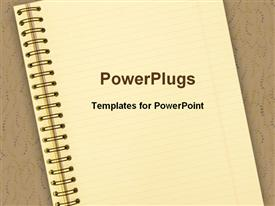 PowerPoint template displaying notebook on brown background, school, education, learning