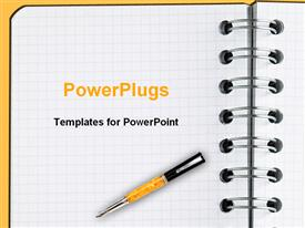 PowerPoint template displaying decorative pen laying on blank sheet of notebook paper