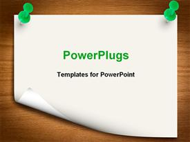 PowerPoint template displaying sheet held with two green pins on brown board