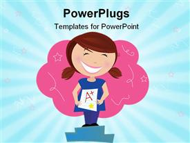 PowerPoint template displaying animated school girl with an A plus graded paper