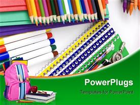 School supplies laid out on a table ready for the first day of school template for powerpoint