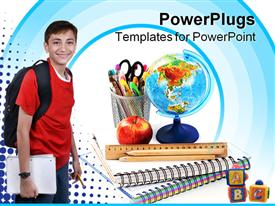 Box with pencils spiral notebook and red apple on white powerpoint template