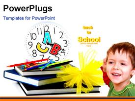 PowerPoint template displaying colorful crayons on book pile with letters on clock and young kid