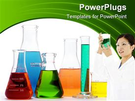 PowerPoint template displaying female scientist in white holding a clinical flask with solution