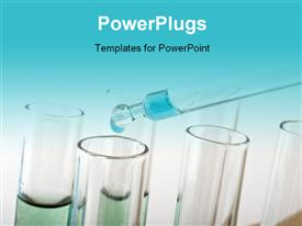 PowerPoint template displaying blue drop from a pipette into test tubes in a science lab