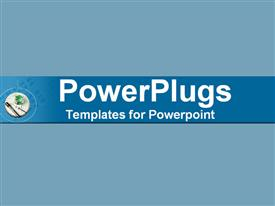 PowerPoint template displaying blue montage of needle thermometer and beaker in the background.