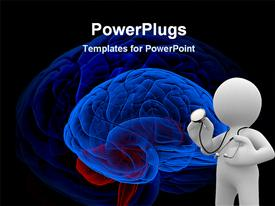 PowerPoint template displaying 3D graphics of a man wearing a stethoscope and a multi colored brain