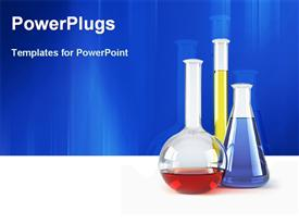 PowerPoint template displaying chemical flasks with reagents in the background.