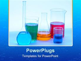 PowerPoint template displaying chemical glassware with different colored liquids in the background.