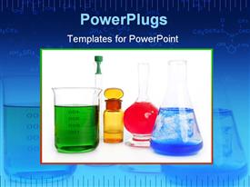 PowerPoint template displaying beakers and flasks holding colored liquids
