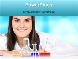 PowerPoint template displaying woman with flask, beaker, lab glassware, chemistry, research, women in science