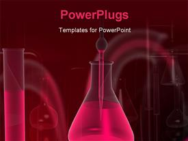 PowerPoint template displaying filler and test tube with black color in the background.