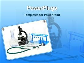 PowerPoint template displaying flasks, microscope, stethoscope, test tubes and test tube holders in the background.