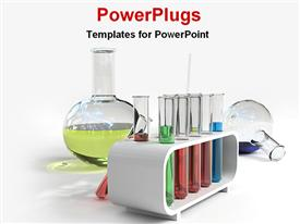 PowerPoint template displaying research laboratory with beaker and colored samples in test tubes