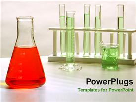PowerPoint template displaying chemistry flask  green fluid on test tubes chemistry equipment   experimental procedures