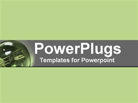 PowerPoint template displaying green close-up of light bulbs and electrical activity