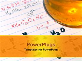 PowerPoint template displaying note pad with chemical formulas and hydrocarbons written with orange beaker