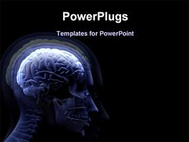 PowerPoint template displaying digital depiction of human anatomy and human brain on black background