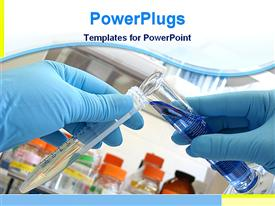 PowerPoint template displaying laboratory background with person in blue gloves mixing chemicals from two testtubes