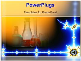 PowerPoint template displaying chemistry lab science mad scientist chemicals drugs