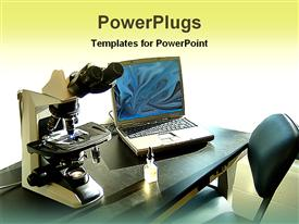 PowerPoint template displaying microscope and laptop in a laboratory bench in the background.