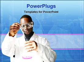 PowerPoint template displaying young African chemistry student performing experiment with pink substance in beaker