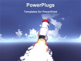 PowerPoint template displaying rocket launching toward blue sky with clouds, blastoff, astronomy, spaceship