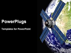 PowerPoint template displaying a global view of the satellite with black background