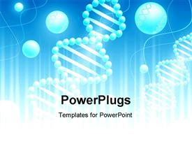 PowerPoint template displaying science background with DNA theme in blue and white