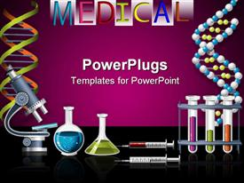 PowerPoint template displaying lab equipment with microscope, vials filled with liquids, syringes, test tubes with colored liquids and molecule chains on black table and purple background