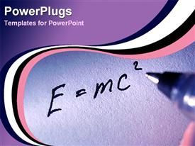 PowerPoint template displaying ink pen writing E=mc2, theory relativity, Einstein, science, mass, energy
