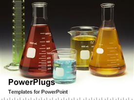 PowerPoint template displaying fluid filled lab scientific glassware beakers, flasks and cylinder with graduated border