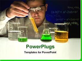 PowerPoint template displaying a scientist testing various chemicals in lab