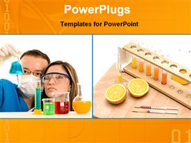 PowerPoint template displaying two scientists working on a experiment in chemical lab with beakers