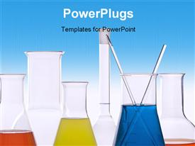 Picture of seven pieces of laboratory equipment template for powerpoint