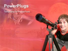 PowerPoint template displaying cute boy looking through a telescope on a red background