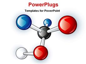 PowerPoint template displaying single molecular structure with blue, white, black and red ball nodes