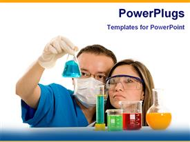 PowerPoint template displaying two scientists handling the chemicals with white background