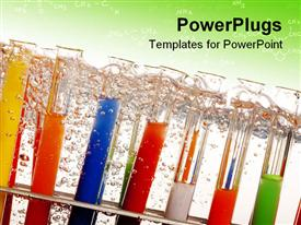 PowerPoint template displaying lots of arranged test tubes with colored solutions and bubbles