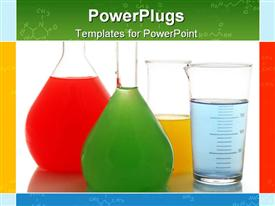 Various color chemical retorts on template for powerpoint