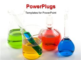 PowerPoint template displaying various colorful glass flasks in the background.