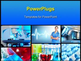 PowerPoint template displaying medical science collage depicting research and healthcare