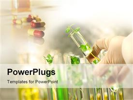 PowerPoint template displaying close-up of small plants in test tubes in the background.
