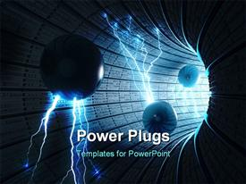 PowerPoint template displaying electric spheres entering abstract tunnel. Concept of energy technology and science.