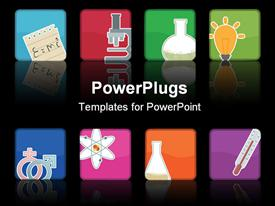 PowerPoint template displaying scientific instruments represented with colorful icons on black background