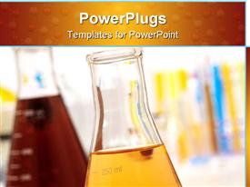 PowerPoint template displaying glass Erlenmeyer flask in research lab background