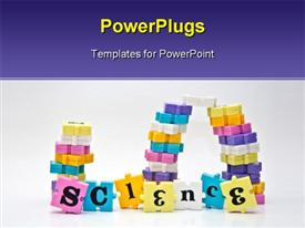 PowerPoint template displaying letters on colored jigsaw puzzle pieces forming word SCIENCE