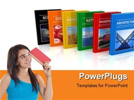 PowerPoint template displaying set of different color scientific books