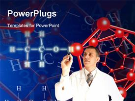 PowerPoint template displaying scientist Inventing Newest technologies in the field of molecular chemistry and genetics