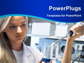 PowerPoint template displaying scientist doing DNA test in modern laboratory